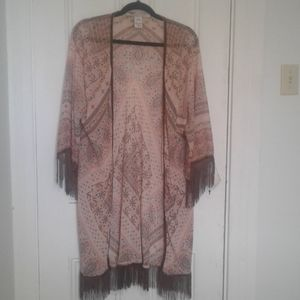 American Rag cie topper sheer with fringe
